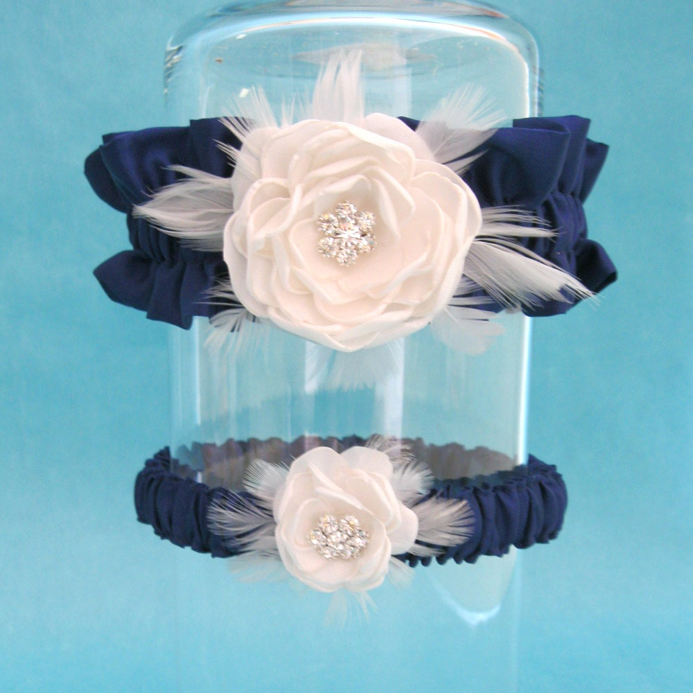 Garter Set In Navy Blue And Ivory Satin Feather Rose Wedding