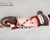 Sock Monkey Hat (Newborn to young adult) and Diaper Cover (Newborn to 24 months)