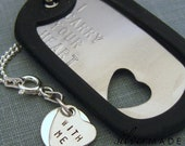 Military Stainless dogtag and sterling HEART CHARM