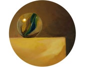Round Print: The Golden Marble from original painting, 10x10