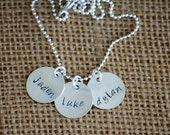 3 Small Sterling Silver Hand Stamped Name Tags