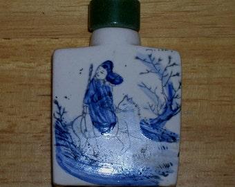 Antique Vintage Hand Painted Chinese Snuff Opium Bottle Jar Green Jade Lid Horsemen
