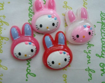 Kitty in bunny head gear cabochons 4pcs 002