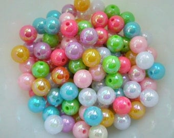 Pearly AB color Shiny beads 8mm 60pcs MIX C Random Color mix