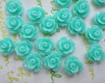 Tiny rose cabochons 10pcs PD 003 10mm Aqua