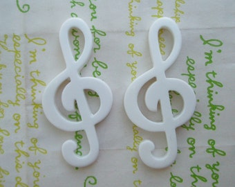 Large Music note cabochons 2pcs White 57mm x 28mm