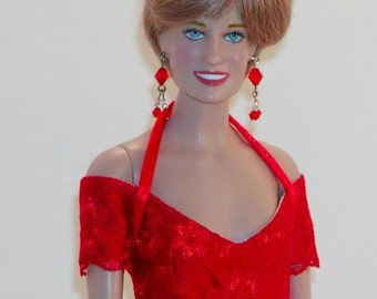 Replica Lot 35 Red Lace Gown for Princess Diana