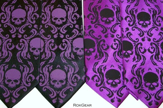 Mens elegant skull damask necktie, Purple skull tie men women
