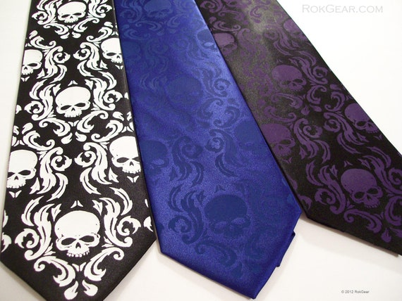 Men's necktie. Classic black and white damask design, skull tie Chronic Skull Damask design