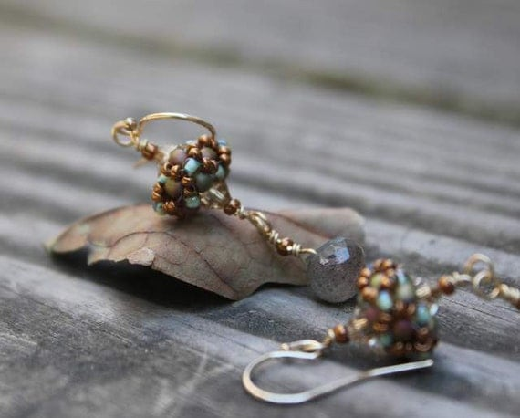 Hand Beaded Earrings with Flash Fiery faceted Labradorite