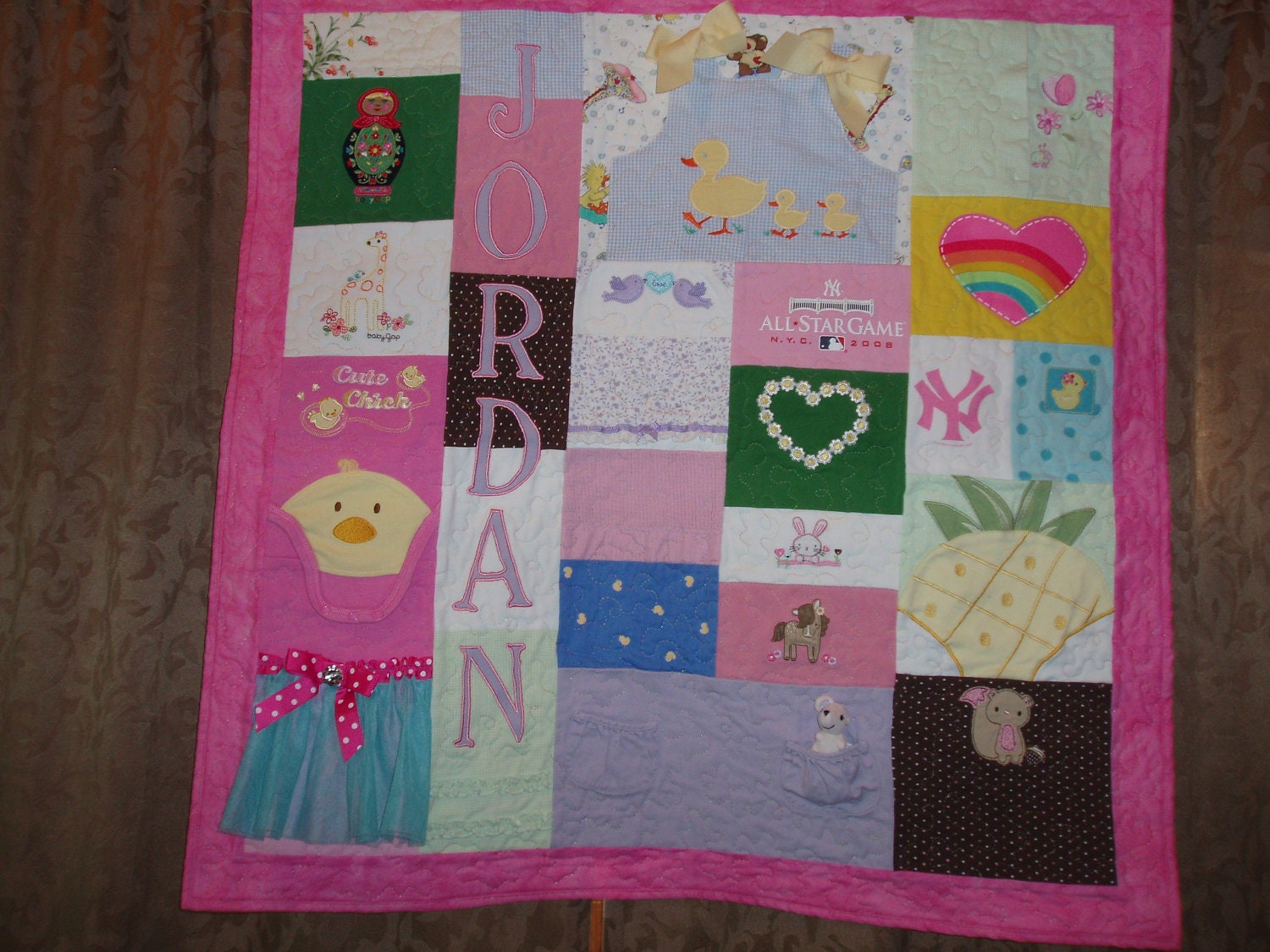 Wall hanging quilts made from baby clothes by barbmalmtshirtquilts