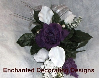 Wedding aisle decoration Church Pew Wedding Decoration Purple and White wedding pew decoration