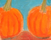 Todd's Pumpkins - small original painting, original art, one of a kind