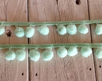 Pom Pom Trim-MINT GREEN-2 yards- 1/2 inch Ball