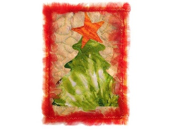 Quilted Christmas Card Appliquéd Fabric Holiday Card Free USA Shipping