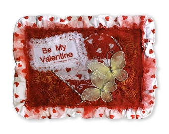 Victorian Valentine Card Quilted Fabric Appliquéd Embellished Embroidered Free USA Shipping