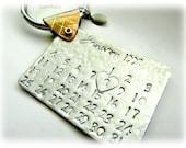Personalized Calendar Key-Chain, Mens, Dad, Boyfriend, Grandpa, Wedding, Anniversary, Birthday, Save the Date, Stainless Steel, Brass