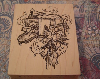 Holiday Mailbox wood mounted Rubber Stamp