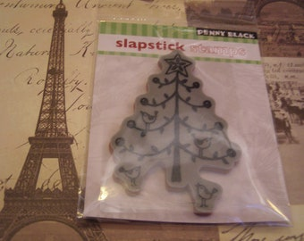 Festive Tree Slapstick Penny Black Cling foam-mounted Stamp