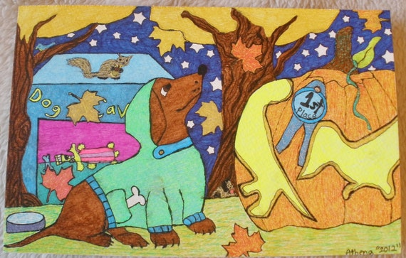 Dachshund  Autumn Fall Art Ink Drawing Original OOAK Wiener Dog Pumpkin Carving  Blue Ribbon Prize 5.5 X 8.5 Inches On Paper