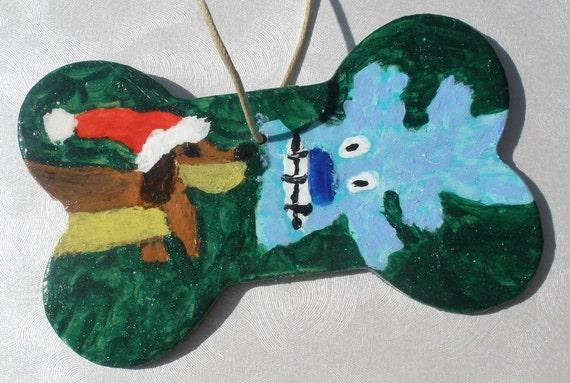 Dachshund Bone Christmas Ornament Santa Wiener Dog And Bobo Hand Painted