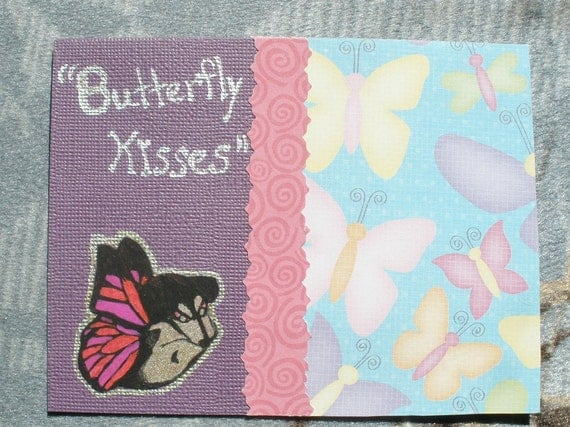 Butterfly Kisses Dachshund Card  Wiener Dog Collage Purple Card With Envelope