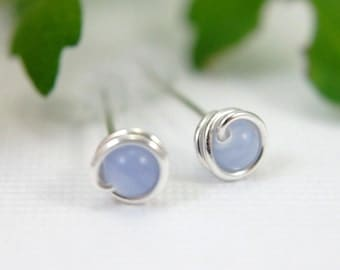 Tiny blue lace agate post earrings 925 sterling silver wire wrapped earrings periwinkle blue earrings mini earring second piercing 5mm small