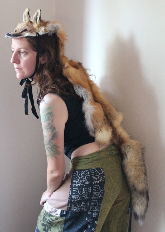 Fox headdress - full skin red fox fur headdress totem dance costume for shamanic ritual and dance