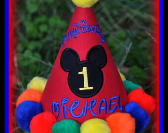 Boutique Quality, Mickey First Birthday Hat w/ APPLIQUED HEAD, Embroidery, Custom,  Handmade, by Gingham Bunny