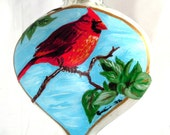 Original Hand Painted Glass Christmas Ornament - Red Cardinal on Glass Heart   FREE SHIPPING