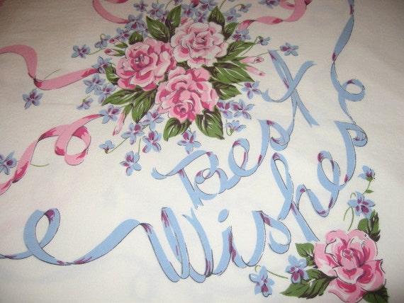 Vintage Ribbons Roses Congratulations Baby Wedding Celebration Tablecloth  XL