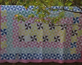 Vintage Pinwheel Windmill Quilt Antique Pink Yellow Green White Blue Hand Quilted Handmade Cottage Chic Hand Stitched