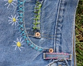 Up Cycled Vintage Levi's Hand Embroidered Size 32 High Waisted Cutoff Jeans Vintage Jeans Cutoffs Custom High Waisted Shorts
