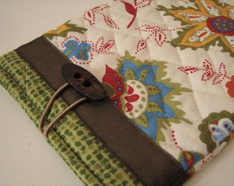 Quilted E reader sleeve Case, Cream and Brown Autumn Floral