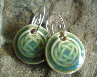 Green Celtic Knot Earrings