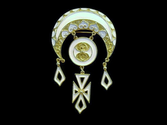 Vintage Brooch: Huge Gold and Enamel Brooch with cross Gorgeous