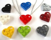 Love Heart Friendship Necklaces x 2 - Set of Two Necklaces to make One Heart - Handmade with LEGO(r) plates