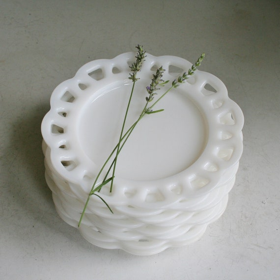 8 Vintage White Milk Glass Lace Edge Plates by tracinicole ...