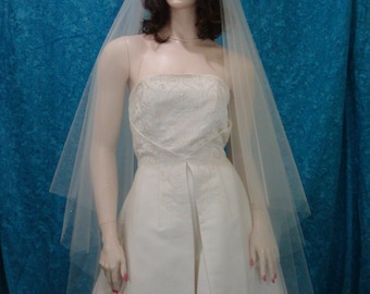 2 Tier Walking length Bridal Veil Super Sheer and flowing with Raw Cut Edge