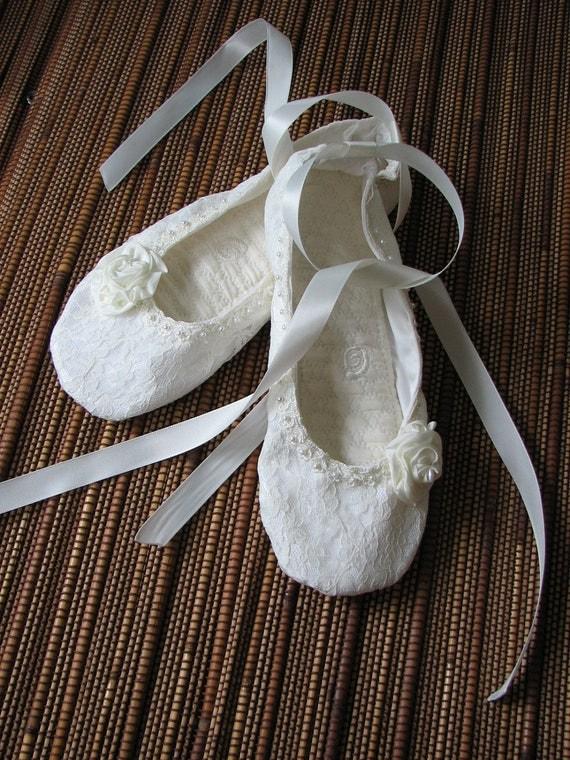 Ivory Princess Bridal Ballet Flats -Shoo-shis...