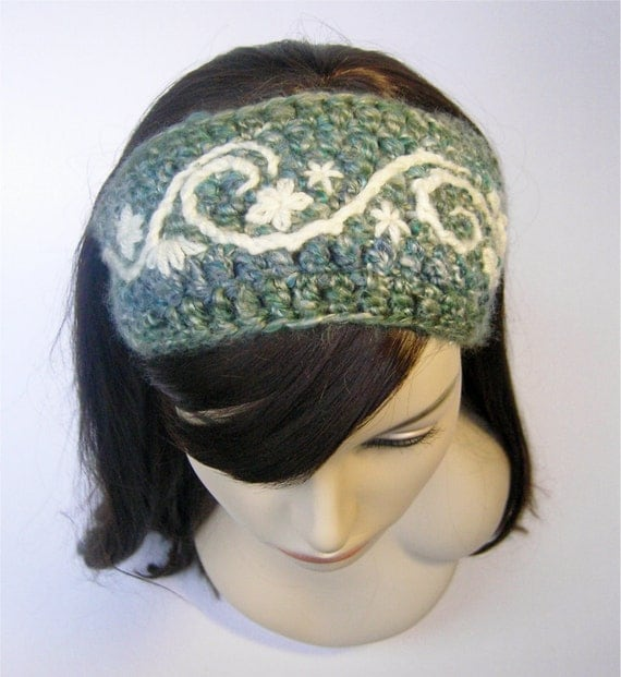 Swirly Flower Earwarmer Headband - Shades of Blue and Cream - Made to Order