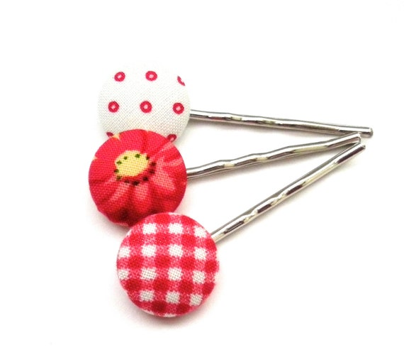 Fabric Button Bobby Pins, Teen Hair Accessory, Flower Bobby Pins, Red, Summer, Spring, Hair, Accessories, Button Accessory, Stocking Stuffer