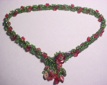 Victorian Rose Vine Seed Bead Spiral Rope Choker Necklace Kit