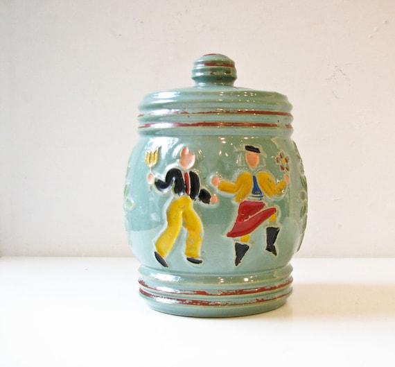 Vintage Redwing Cookie Jar   -  Mossy Green - Dancing Peasants - Man & Woman