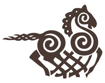 Viking Odin Sleipnir brown vinyl decal