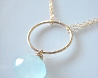 "Gold Circle Necklace with Aqua Chalcedony - ""Earth & Sky"""
