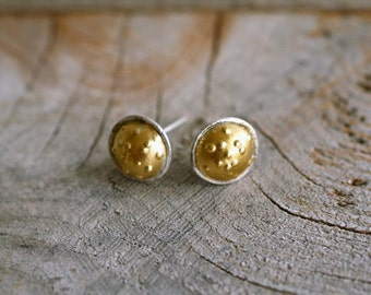 Gold Stud Earrings, Wearable Art Jewelry, Metal Work, Pod Earrings, Woodland, Bride and Bridesmaid Jewelry, Gift for Wife