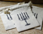 Set Of Three Cotton Muslin Gift Bags   -  The Candelabra   -   Hand Stamped Cotton Muslin Gift Bags
