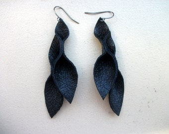 Petal Collection:  Black Leather Petal Earrings 3 inches