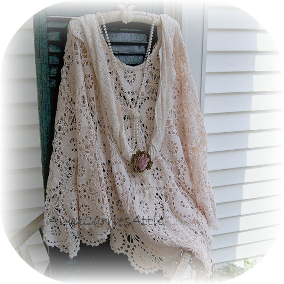 Shabby Crochet Shawl Poncho Plus Size  Elegant, Sophisticated made from Vintage